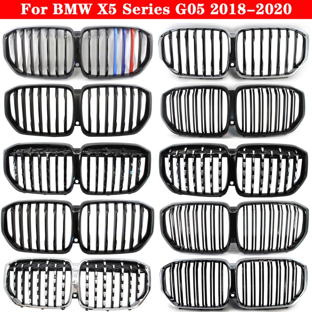 2pcs car racing grille for hyundai solaris 2 grill 2016 2018 emblems abs radiator sliver chrome front bumper upper replacement Car styling Middle grille for BMW X5 Series G05 2018-2020 ABS plastic front bumper grill Auto Center Grille vertical bar