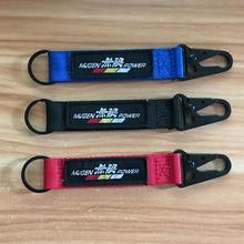 Полукруг сплав брелок нейлоновая ткань вышивка эмблема гоночный JDM автомобильный брелок для ключей в виде пояса Подвеска для Honda аксессуары