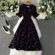 Beiyingni été Robe française Femme coeur imprimé ceintures col en v élégant fête de luxe grande taille femmes robes loisirs Robe Femme