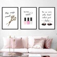 Toile de peinture nordique en cils   Ciseaux, vernis à ongles, cils mode Simple, affiches Salon de coiffure, Salon de beauté, peinture murale, papier peint dart