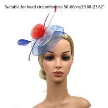 Frauen American USA Flagge Farbige Fascinator Hut Netting Blume Feder Haar Clip F3MD