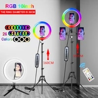 10-12 Inch RGB Ring Light Tripod LED RingLight Selfie Ring Light With Stand Video Light For Makeup Video Live Youtube Tik Tok