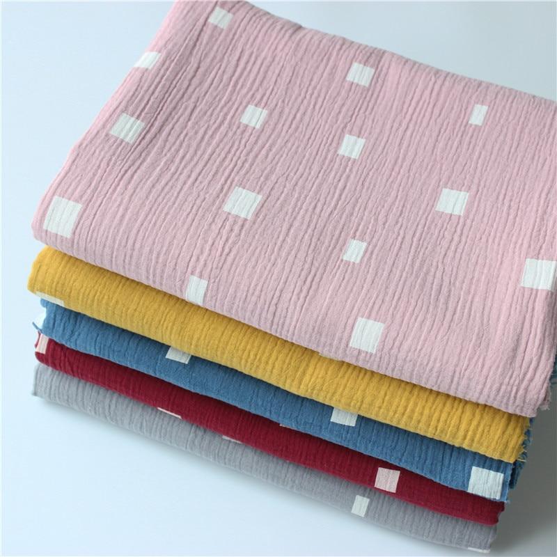 Algodón gasa crepé impresión doble crepé erizo textura algodón tela, hacer camisa, ropa interior, paño
