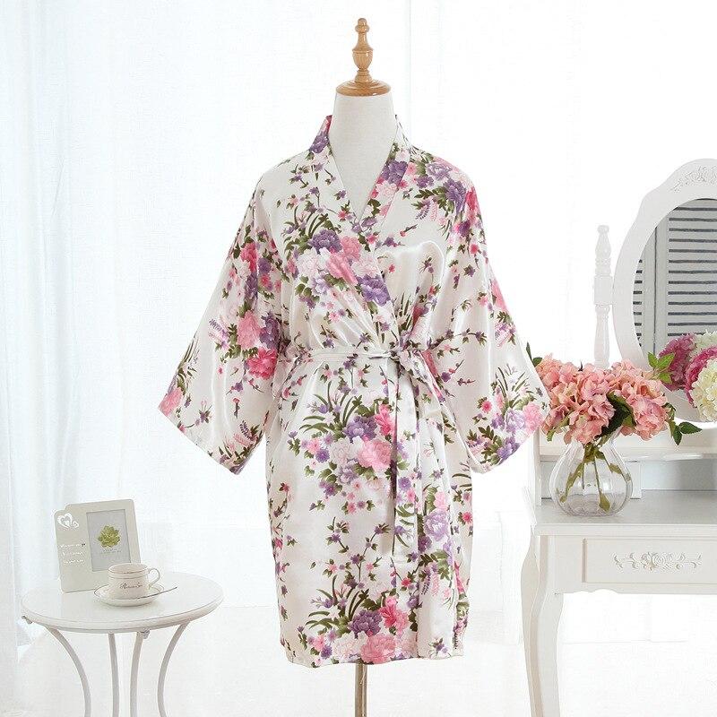 Sanderala Sexy Women's Night Bride Robe Print Flower Summer Lingerie Loose Bathrobe Sleepwear Satin Bath Underwear Kimono Robe