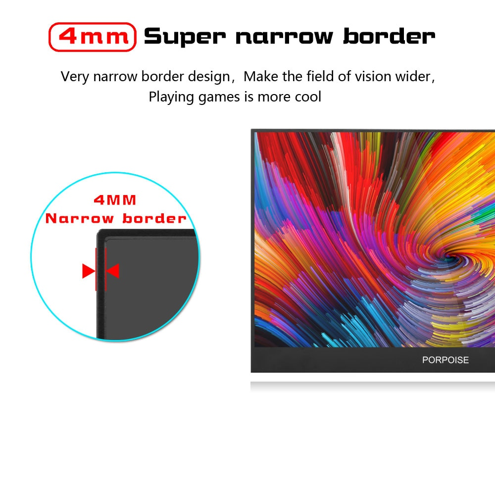 """PORPOISE 17.3""""  USB 3.1 Type-C screen portable monitor for Ps4 Switch Xbox Huawei  phone gaming monitor Laptop LCD display 15.6"""