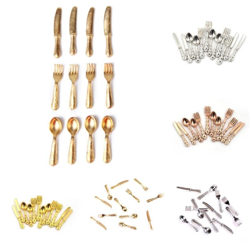 Кухонные аксессуары, игрушки, миниатюрные вилки, ложки и ножи для кукольного домика, набор посуды из нержавеющей стали