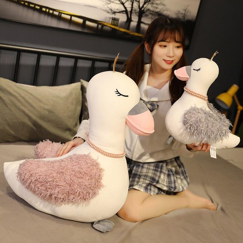 1 pçs 25/35/50/60cm sonho cisne boneca presente de fadas travesseiro brinquedo de pelúcia adorável cisne branco boneca para meninas