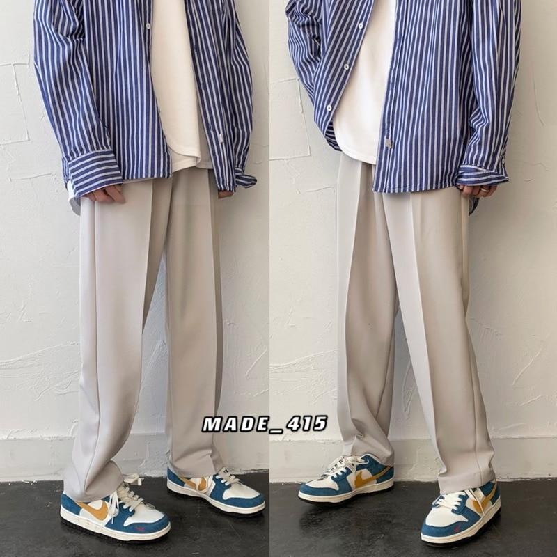 Spring Wide-leg Pants Men's Fashion Solid Color Casual Pants Men Streetwear Korean Loose Straight Pants Mens Trousers M-2XL