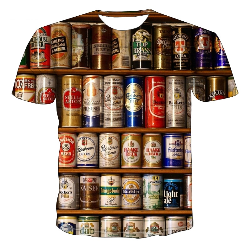 Новинка лета 2021, футболка с 3D принтом, забавная футболка с коротким рукавом и принтом пива, футболка с принтом бургеров, футболка с круглым в...