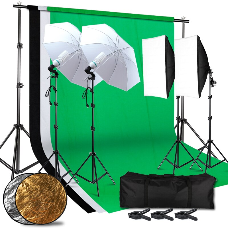 Lighting Kit Adjustable Max Size 2.6Mx3M Background 3 Color Backdrop Fabric Photo Studio Softbox Sets Continuous Umbrella Light
