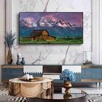 Peinture a lhuile de paysage prairie alpine  maison en bois  toile dart  salon  couloir  bureau  decoration murale de la maison