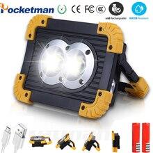 Brightest COB Work Lamp USB Flashlight Waterproof 4-Mode Emergency Spotlight Floodlight use 2*18650 Rechargeable or 3*AA Battery