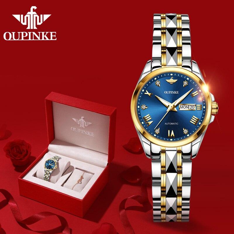 OUPINKE Mechanical Watch Women Switzerland Luxury Brand Ladies Wrist Watch Diamond Scale Tungsten Steel Strap montre femme 2020