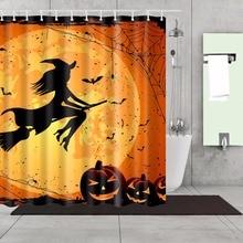 Polyester imperméable 180X180cm de tissu de rideau de douche décoratif de citrouille de sorcière de Halloween heureux pour le rideau de salle de bains