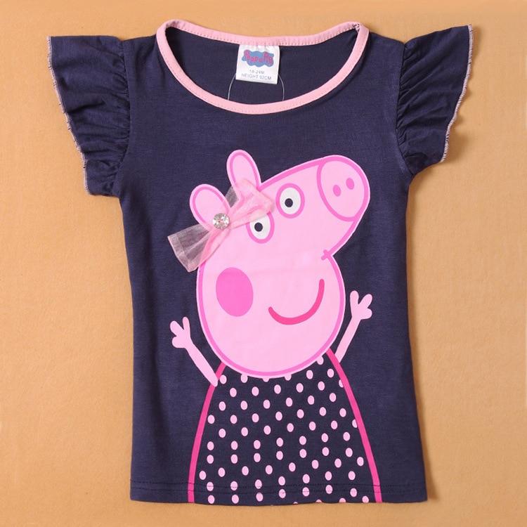 Peppa Pig, ropa de verano para niñas, camiseta de manga corta para bebés, Camiseta de algodón de dibujos animados, sudaderas casuales, ropa 1-6Y