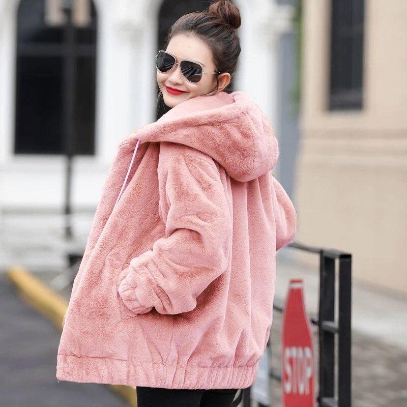 Casual Faux Rabbit Fur hooded Coat Women 2020 Autumn Winter Warm Soft Fur Jacket Female Plush Overcoat large size Outwear