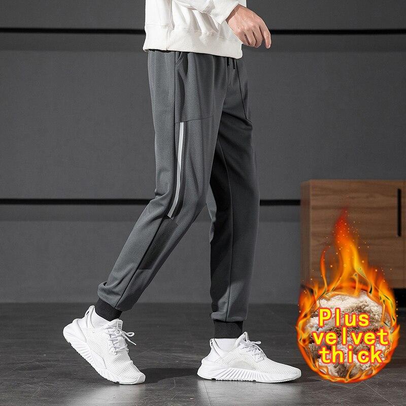 Зимние теплые плюшевые брюки плюс бархатные брюки мужские спортивные брюки на шнуровке брюки мужские модные Универсальные повседневные бр...