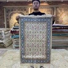 Yilong-tapis en soie de Tabriz 2x3 pouces   Tapis bleu exquis fait main, tapis persens (HF081B)