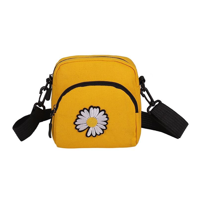 Bolso para mujer, bolso de tela con margaritas, bandolera/bandolera para mujer, bolso de tela para teléfono móvil rojo Internet YUBAI