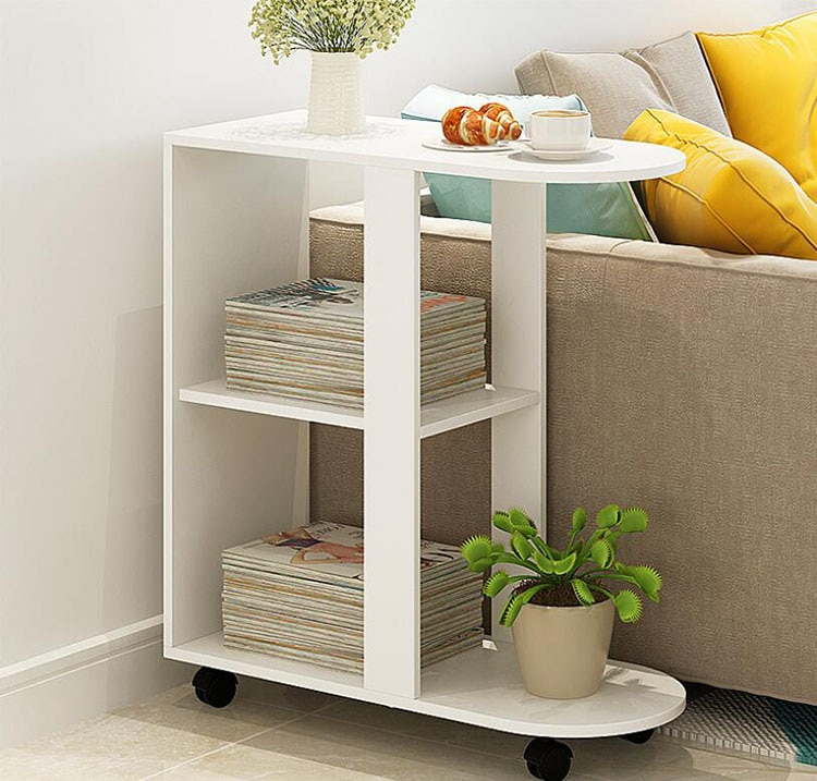 Removeable Coffee Table Wooden Tea for Living Room Sofa Bed Beside Small Dining Reading with 2 Layer Shelves