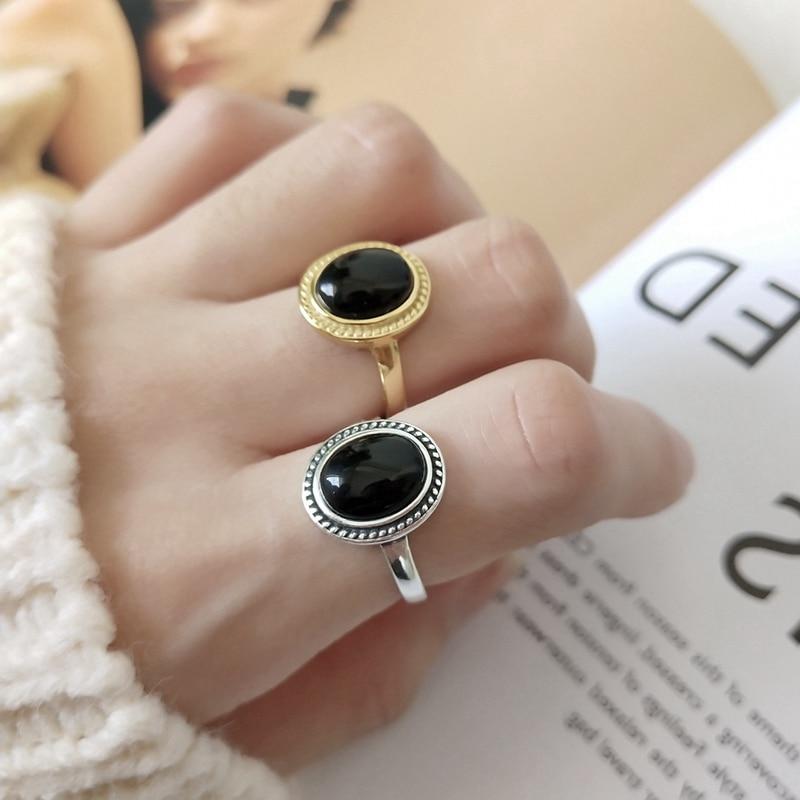 Anillos plateados redondos de ágata negra, anillos minimalistas brillantes de estilo japonés coreano para mujer, joyería de moda 925
