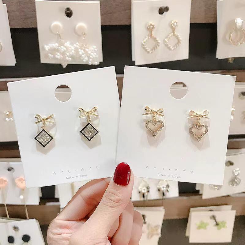 2021 New Simple Bowknot Earrings For Women Fashion Zircon Advanced Crystal Elegant Drop Jewelry