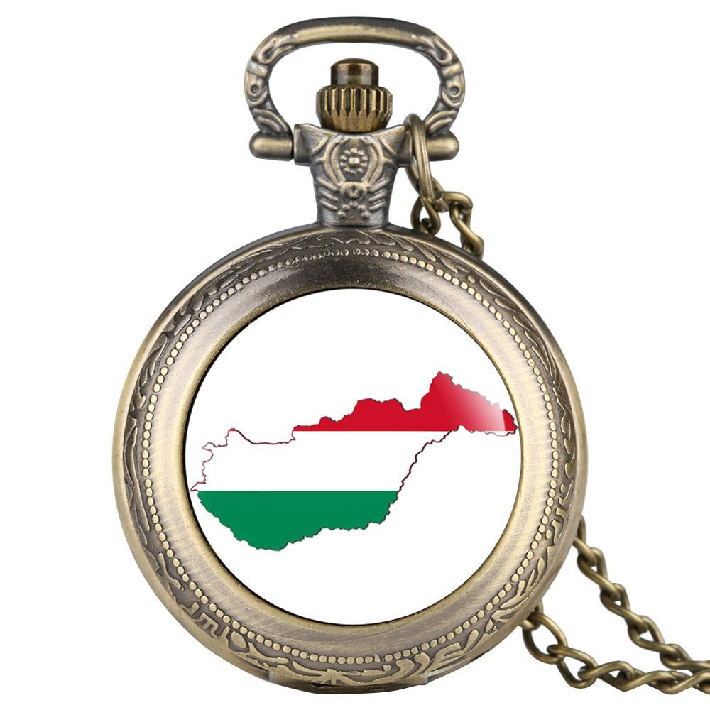 Reloj de bolsillo de mapa de Hungría para mujeres, reloj analógico orologio donna de aleación para hombres, accesorio colgante Fob, relojes de bolso
