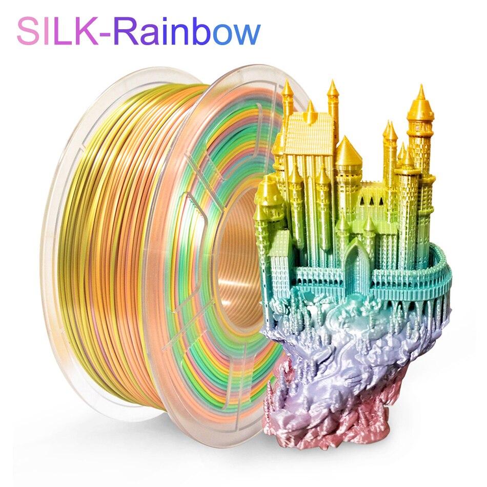 SUNLU, filamento de impresora 3D de color arcoíris de seda PLA de 1,75mm, Sin enredos de 100% sin burbujas con bolsa de aspiradora empaquetada, Boligrafo