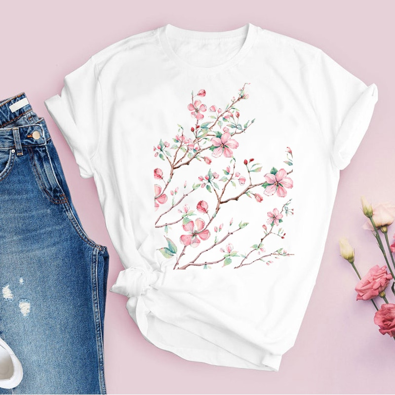 Women Graphic Flower Floral Fashion Casual Cute 90s Style Vintage Lady Tees Print Tops Clothing Fema