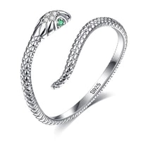 zemior genuine 925 sterling silver snake open adjustable finger rings for women simple vintage animal ring statement jewelry