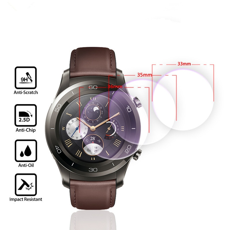 Para un diámetro de 30mm-41mm reloj inteligente de vidrio templado 9H 2.5D Premium Film Protector de pantalla 30 31 32 33 34 35 36 37 38 39 40 41mm