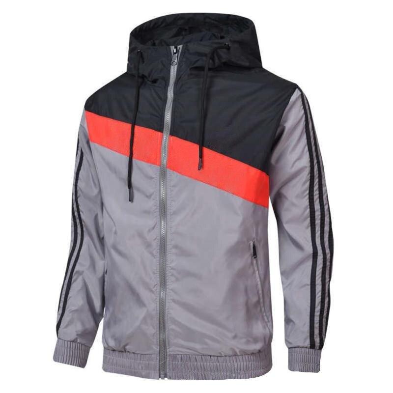 Повседневная ветровка, Мужская Осенняя уличная куртка с капюшоном, Мужская теплая ветровка на молнии, спортивная баскетбольная куртка