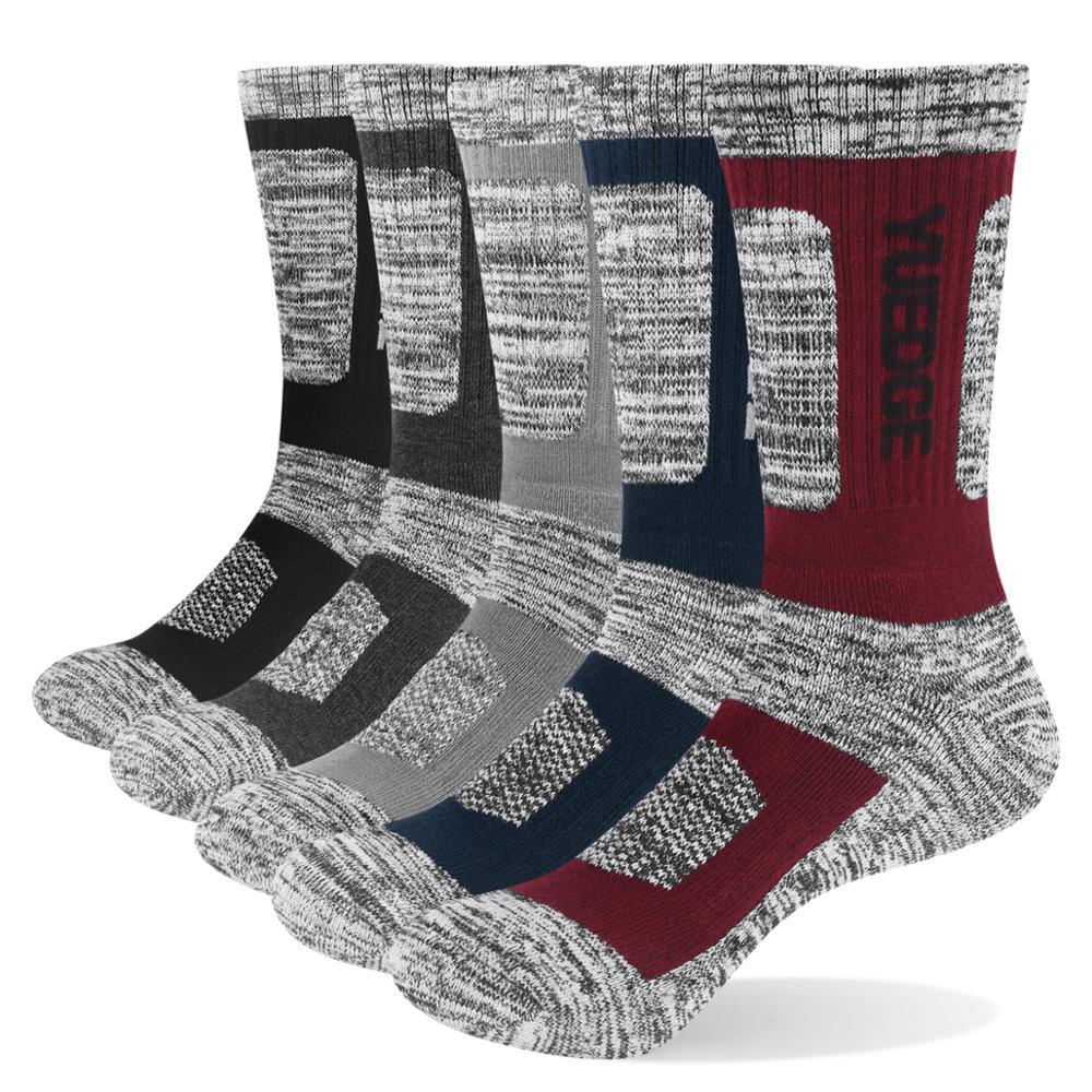 YUEDGE Brand Men's Breathable Cushion Crew Snowboarding Climbing Trekking Hiking Socks Winter Sports Socks 5 Pairs 38-45 EU