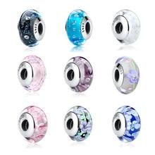 32 perles en verre de Murano Effervescence en argent Sterling 925 pour Bracelet à breloques dorigine bijoux authentiques S925