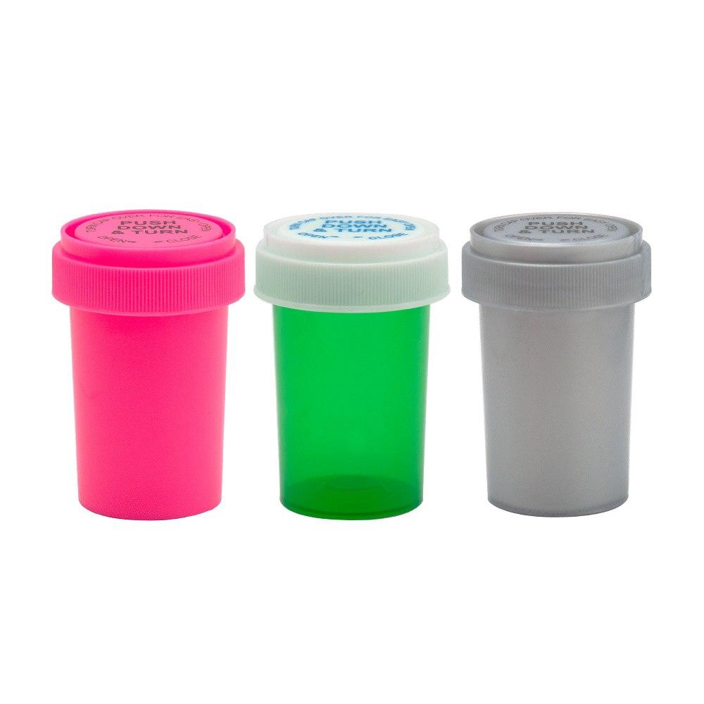 De COURNOT 20Dram empujar y giro frasco contenedor de plástico acrílico de almacenamiento tarro para alijo de la botella de píldora caso caja de tabaco hierba contenedor