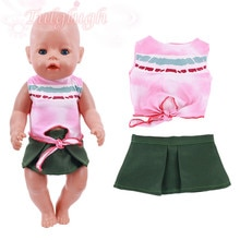 2021 New Baby New Born Fit 18 inch 43cm Doll Clothes Accessories Pink T-shirt Green Dress Suit For B