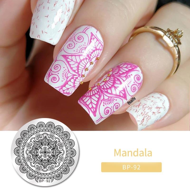 BORN PRETTY-Plantilla de sellos para decorar uñas, diseño arabesco, placas de estampado de imágenes para manicura DIY, BP-92, 5,5 cm