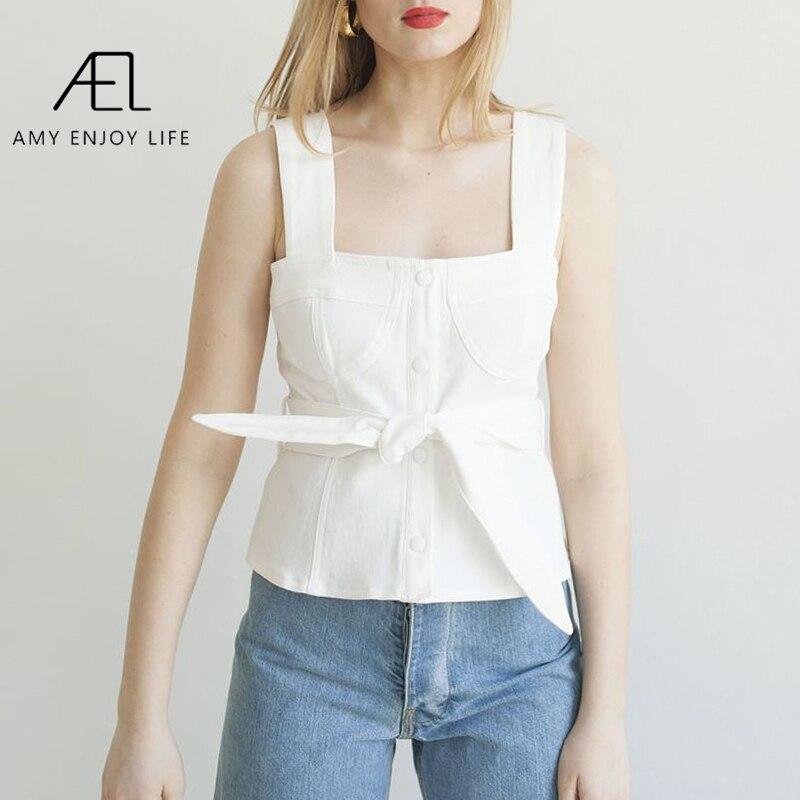 AEL Denim Vest Women Fashion Crop Top Ladies White Sleeveless Sexy Club Tank belt Top summer