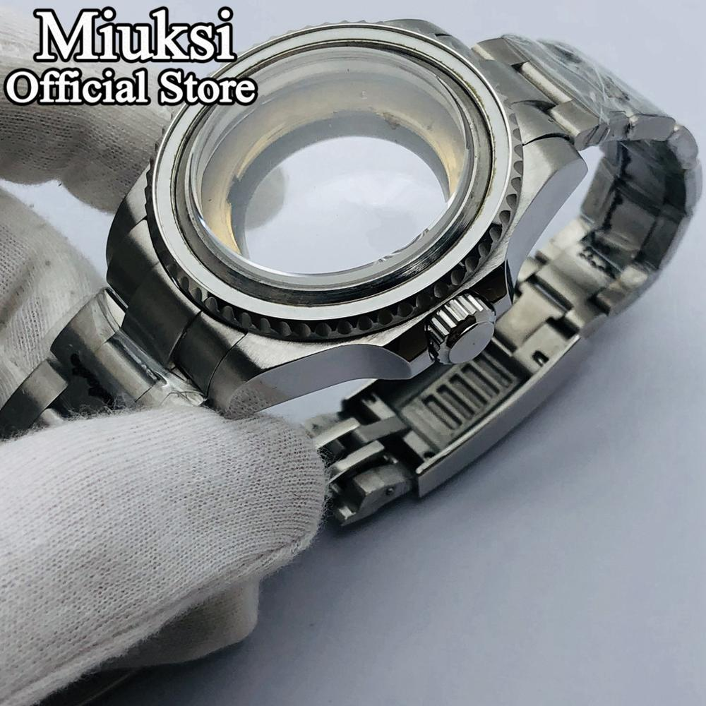 Caja transparente Miuksi de 40mm/43mm, cristal de zafiro compatible con ETA2836 NH35 NH36 Miyota 8205 8215 821A Mingzhu DG 2813 3804 movimiento