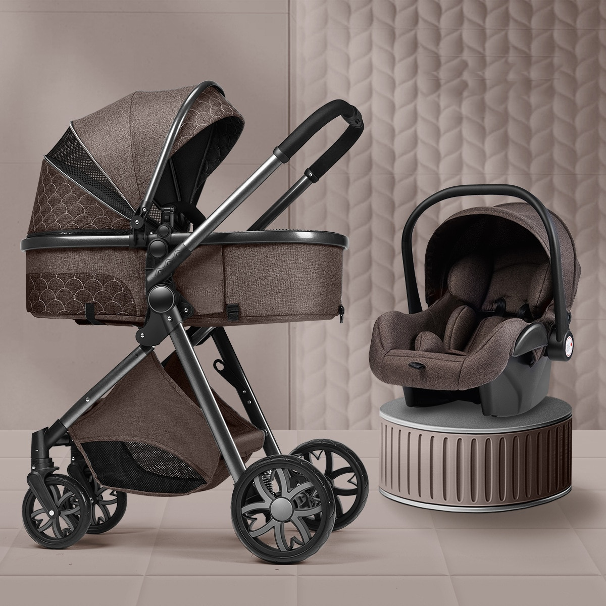 Luxury Baby Stroller 3 in 1 High Landscape Baby Cart Can Sit Can Lie Portable Pushchair Baby Cradel Infant Carrier Free Shipping