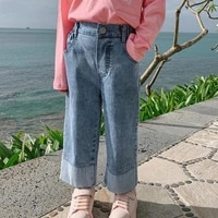 2021 new spring and autumn girls jeans simple and wild western style kids wide leg pants childrens clothing kj27