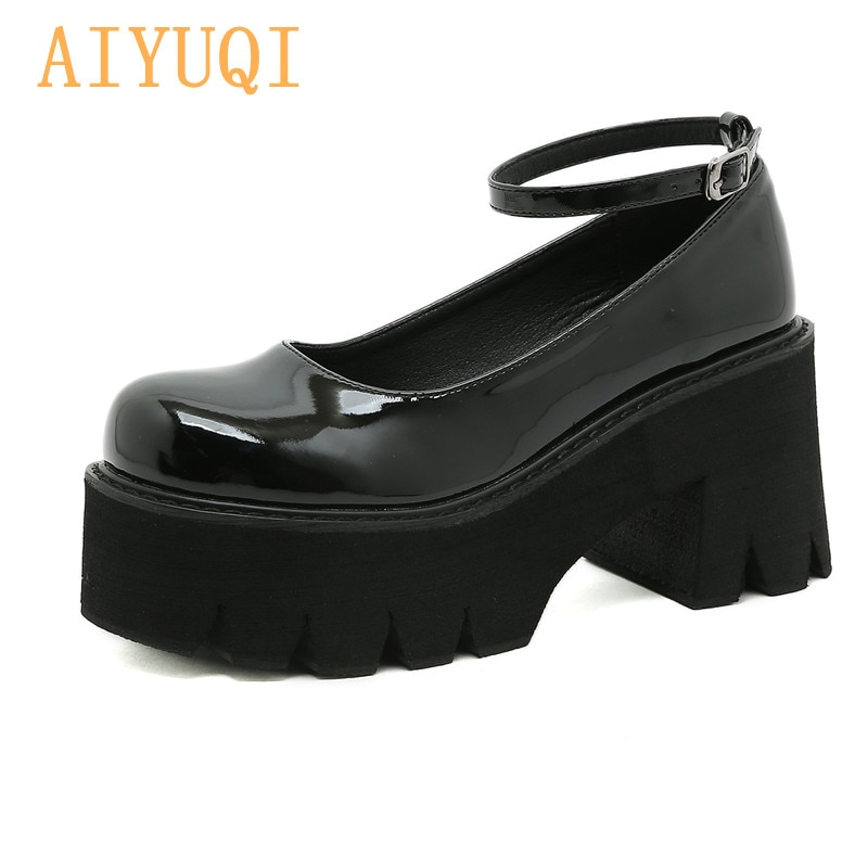 AIYUQI Women Mary Jane Shoes Large Size 41 42 New Thick High-heel British Style Student Shoes Summer