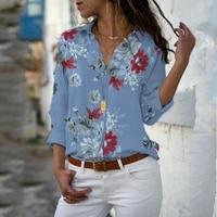 women tops thin flower blouses autumn elegant long sleeve print chiffon blouse female work wear shirts plus size 5xl lapel blusa