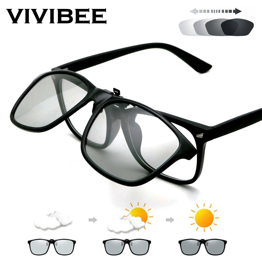 VIVIBEE 2020 Polarized Pilot Flip Up Clip on Sunglasses Men Photochromic Polarised Women Sun Glasses
