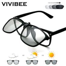 VIVIBEE 2021 Polarized Pilot Flip Up Clip on Sunglasses Men Photochromic Polarised Women Sun Glasses