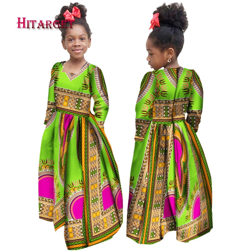Stock Size Low Price African Autumn Girl Dress Kids Dashiki Traditional Cotton Long Sleeve Dresses W