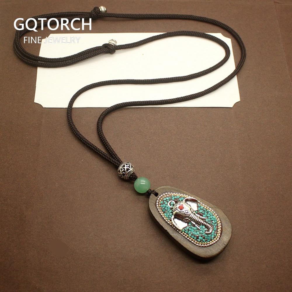 Длинная цепочка для свитера из натурального сандалового дерева, ожерелье с подвеской в виде слона Фортуны для мужчин и женщин, Ганеша, индуистская молитва, буддийские ювелирные изделия