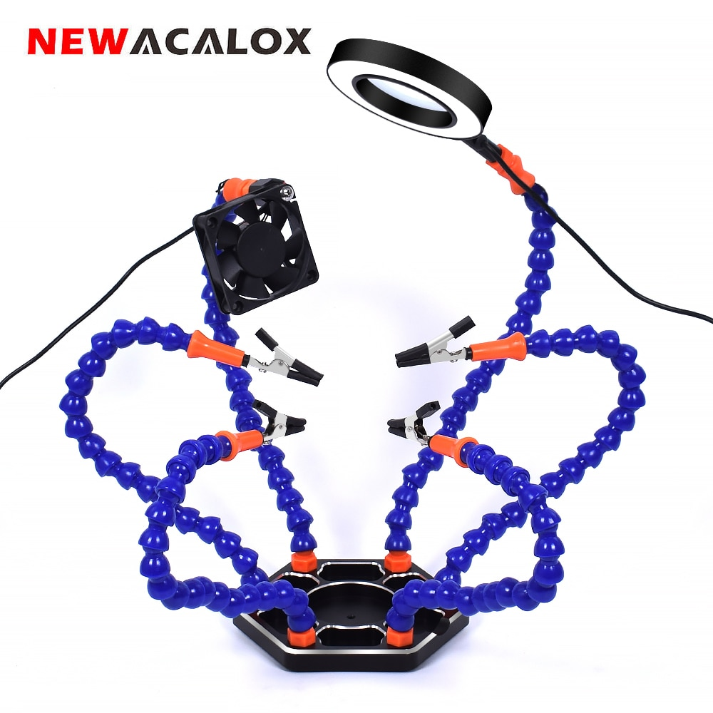 NEWACALOX-مستخرج دخان اللحام ، أداة لحام مع USB ، مع عدسة مكبرة مضيئة 3X LED ، حامل لحام