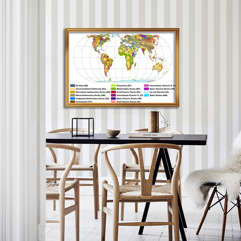 84*59 cm The World Geological Map Wall Art Poster Fabric Card Canvas Painting Living Room Home Decoration School Supplies