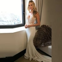 latest elegant mermaid lace appliqued wedding dresses for bride plunge v neckline sexy bridal wedding gowns sleeveless on sale